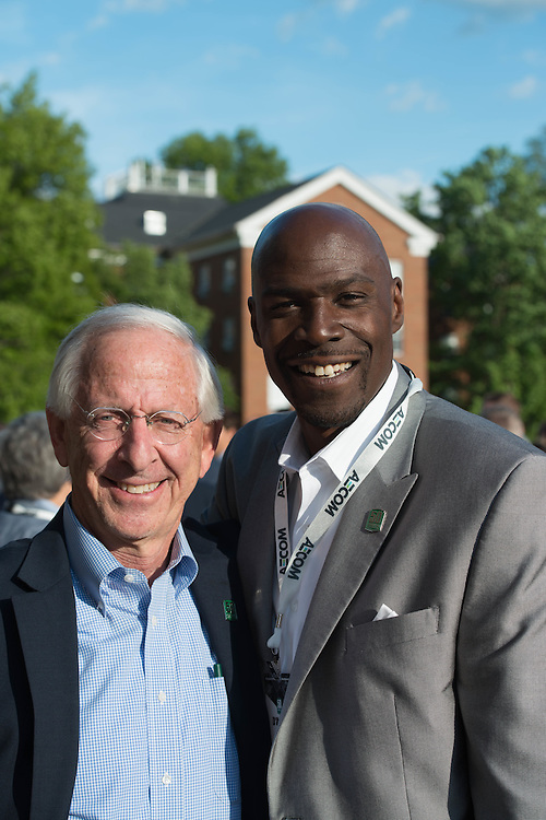 Andy Dolich and D'Andre Wells at the Charles R. Higgins Distinguished Alumnus Award Banquet outside of Nelson Commons. © Ohio University/ Photo by Kaitlin Owens
