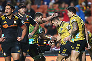 The Hurricanes celebrate a try scored by Hurricanes centre Wes Goosen during the Super 15 Rugby match - Chiefs v Hurricanes played at FMG Stadium Waikato, Hamilton, New Zealand on Friday 13 July 2018.<br /> <br /> Copyright photo: &copy; Bruce Lim / www.photosport.nz