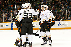 November 9, 2010; San Jose, CA, USA;  Anaheim Ducks left wing Jason Blake (33) celebrates with center Saku Koivu (11) after scoring a goal against the San Jose Sharks during the first period at HP Pavilion. Mandatory Credit: Jason O. Watson / US PRESSWIRE