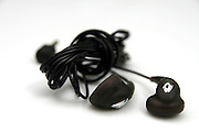 Cutout of a pair of earphones on white background