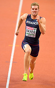Mar 5, 2017; Belgrade, Serbia; Kevin Mayer (FRA) runs 6.95 in the heptathlon 60m during the 34th European Indoor Championships at Kombank Arena. Mayer won with a national record 6,479 points.  (Jiro Mochizuki/Image of Sport)
