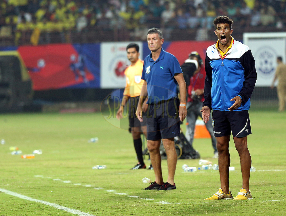 David James head coach of Kerala Blasters FC during match 49 of the Hero Indian Super League between Kerala Blasters FC and North East United FC held at the Jawaharlal Nehru Stadium, Kochi, India on the 4th December 2014.<br /> <br /> Photo by:  Sandeep Shetty/ ISL/ SPORTZPICS