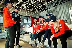 Urska Bogataj, Zoran Zupancic, Katra Komar, Maja Vtic, Jerneja Brecl and Spela Rogelj during press conference of Slovenian Nordic Ski teams, on January 8, 2018 in Triglav Lab, Ljubljana, Slovenia. Photo by Vid Ponikvar / Sportida