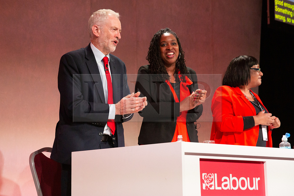 © Licensed to London News Pictures. 23/02/2019. Telford, UK. Labour leader Jeremy Corbyn addressing the Labour Party Women's Conference in Telford joined on stage by Dawn Butler, centre and Diane Abbott. Photo credit: Dave Warren/LNP