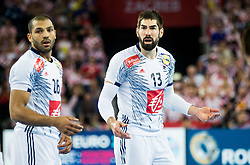 Nicolas Claire of France and Nikola Karabatic of France during handball match between National teams of Croatia and France on Day 7 in Main Round of Men's EHF EURO 2018, on January 24, 2018 in Arena Zagreb, Zagreb, Croatia.  Photo by Vid Ponikvar / Sportida