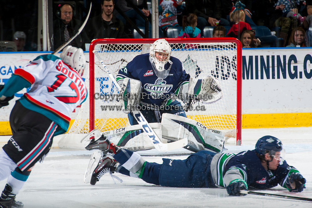 KELOWNA, CANADA - FEBRUARY 13: Matt Berlin #29 of the Seattle Thunderbirds makes a save on a shot by Rodney Southam #17 of the Kelowna Rockets on February 13, 2017 at Prospera Place in Kelowna, British Columbia, Canada.  (Photo by Marissa Baecker/Shoot the Breeze)  *** Local Caption ***