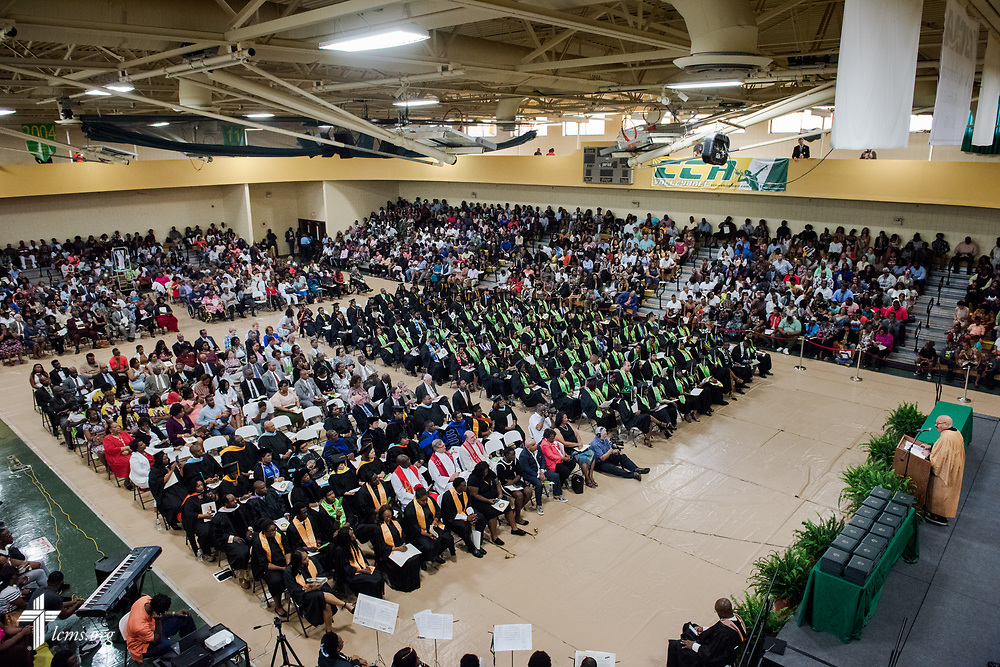 Radio personality Thomas Joyner gives the commencement address during the 92nd and final Commencement Exercises on Saturday, April 28, 2018, in the Julius and Mary Jenkins Center at Concordia College Alabama in Selma, Ala. LCMS Communications/Erik M. Lunsford