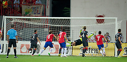 NOVI SAD, SERBIA - Tuesday, September 11, 2012: Wales' goalkeeper Boaz Myhill is beaten for Serbia's opening goal during the 2014 FIFA World Cup Brazil Qualifying Group A match at the Karadorde Stadium. (Pic by David Rawcliffe/Propaganda)