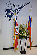 "British and Russian flags displayed beneath the image of a Migoyan jet fighter at the Farnborough Air Show, England. Russia's deputy prime minister told his country's defence delegates to withdraw from the Farnborough International Airshow and return home after being snubbed by the British government over the Ukraine conflict. Dmitry Rogozin, who heads Russia's defence sector as deputy prime minister, said: ""I recommend our delegation to wind up its participation in the show and return home."""