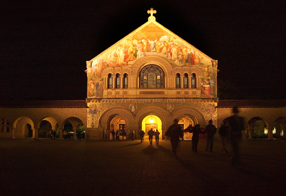 Nightime photo of Stanford University Memorial Church