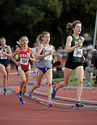 Marie Bouchard (395) of San Francisco), Allie Ostrander (72) of Boise State,  and Grayson Murphy (554) of Utah lead the women's steeplechase in the Stanford Invitational in Stanford, Calif., Friday, Mar 30, 2018. Ostrander won in 9:38,57. Bouchard was second in 9:47.03 and Murphy was third in 9:51.36. (Gerome Wright/Image of Sport)