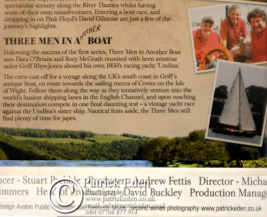 DVD cover photography for Avalon Productions of Three men in another boat. Starring Gryff Reece Jones, Rory McGrath and Dara O'Briain.
