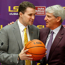 Mar 22, 2017; Baton Rouge, LA, USA; LSU Tigers athletic director Joe Alleva introduces new basketball head coach Will Wade during a press conference at the LSU Student Union. Mandatory Credit: Derick E. Hingle-USA TODAY Sports