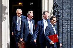 © Licensed to London News Pictures. 18/07/2017. Justice Secretary DAVID LIDINGTON, Environment Secretary MICHAEL GOVE, Attorney General JEREMY WRIGHT and Northern Ireland Secretary JAMES BROKENSHIRE leave after a cabinet meeting in Downing Street, London on Tuesday, 18 July 2017 London, UK. Photo credit: Tolga Akmen/LNP
