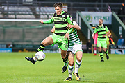 Forest Green Rovers Charlie Cooper(15) wins the ball during the EFL Sky Bet League 2 match between Yeovil Town and Forest Green Rovers at Huish Park, Yeovil, England on 24 April 2018. Picture by Shane Healey.