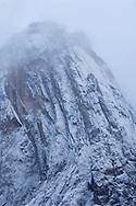 Fresh snow on steep granite cliffs above Yosemite Valley, Yosemite National Park, California