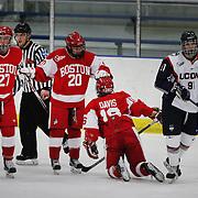 Boston University players celebrate a goal during the UConn Vs Boston University, Women's Ice Hockey game at Mark Edward Freitas Ice Forum, Storrs, Connecticut, USA. 5th December 2015. Photo Tim Clayton