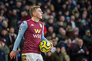 Matt Targett (Aston Villa) waiting with the ball during the Premier League match between Brighton and Hove Albion and Aston Villa at the American Express Community Stadium, Brighton and Hove, England on 18 January 2020.