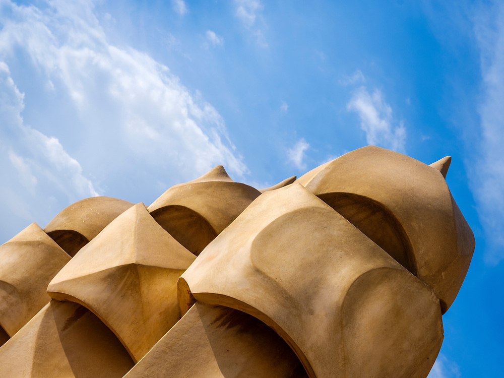 BARCELONA, SPAIN - CIRCA MAY 2018: Detail of ventilation towers in La Pedrera, also known as Casa Mila or The Stone Quarry. A famous building in the center of Barcelona designed by Antoni Gaudi.