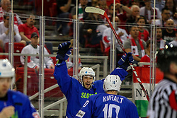 Bostjan Golicic of Slovenia celebrates during Ice Hockey match between National Teams of Hungary and Slovenia in Round #3 of 2018 IIHF Ice Hockey World Championship Division I Group A, on April 25, 2018 in Arena Laszla Pappa, Budapest, Hungary. Photo by David Balogh / Sportida