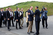 17.JUNE.2013. LOUGH ERNE<br /> <br /> PRESIDENT BARACK OBAMA GREETS ITALY PRIME MINISTER ENRICO LETTA AT THE G8 SUMMIT IN LOUGH ERNE, NORTHERN IRELAND<br /> <br /> BYLINE: EDBIMAGEARCHIVE.CO.UK<br /> <br /> *THIS IMAGE IS STRICTLY FOR UK NEWSPAPERS AND MAGAZINES ONLY*<br /> *FOR WORLD WIDE SALES AND WEB USE PLEASE CONTACT EDBIMAGEARCHIVE - 0208 954 5968*