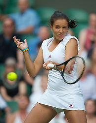 LONDON, ENGLAND - Friday, June 25, 2010: Laura Robson (GBR) during the Mixed Doubles 1st Round match on day five of the Wimbledon Lawn Tennis Championships at the All England Lawn Tennis and Croquet Club. (Pic by David Rawcliffe/Propaganda)