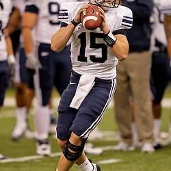 Sep 12, 2009; New Orleans, LA, USA; BYU Cougars quarterback Max Hall (15) before a game against the Tulane Green Wave at the Louisiana Superdome.  BYU defeated Tulane 54-3. Mandatory Credit: Derick E. Hingle-US PRESSWIRE