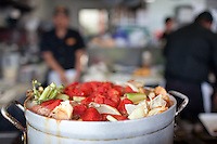 Local Oceans Restaurant in Downtown Newport, Oregon uses fish fresh off the boats from the harbor across the street.  Fish stew cooking