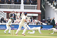 Alastair Cook of England edges for 4 through the slips on Day One of the NatWest Test Match match at Lord's, London<br /> Picture by Simon Dael/Focus Images Ltd 07866 555979<br /> 24/05/2018
