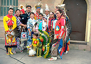 Group of Native Americans in native dress after a Pow Wow dance. Harriet Island St Paul Minnesota USA