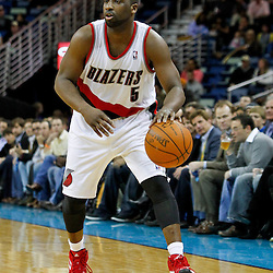 February 10, 2012; New Orleans, LA, USA; Portland Trail Blazers point guard Raymond Felton (5) against the New Orleans Hornets during the a game at the New Orleans Arena. The Trail Blazers defeated the Hornets 94-86. Mandatory Credit: Derick E. Hingle-US PRESSWIRE
