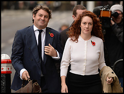 Rebekah and Charlie Brooks arrive at the The Old Bailey, London, for the Phone Hacking Trial. Friday, 1st November 2013. Picture by Andrew Parsons / i-Images