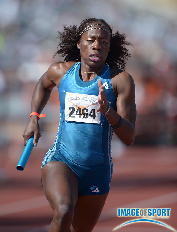 Mar 29, 2014; Austin, TX, USA; Jessica Beard runs a leg on the womens 4 x 400m relay in the 87th Clyde Littlefield Texas Relays at Mike A. Myers Stadium.