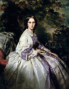 Countess Alexander Nikolaevitch Lamsdorff (born Maria Ivanovna Beck 1835-1866) , 1859. Oil on canvas. Franz Xaver Winterhalter (1805-1873) German painter. Fashion Fabric Silk Textile Chemistry Dye Synthetic Purple