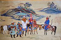 Mongolie, Province du Khentii, peinture représentant Gengis Khan et sa famille en chasse à l'aigle // Mongolia, Khentii province, painting depicting the Gengis Khan and family in Eagle hunting