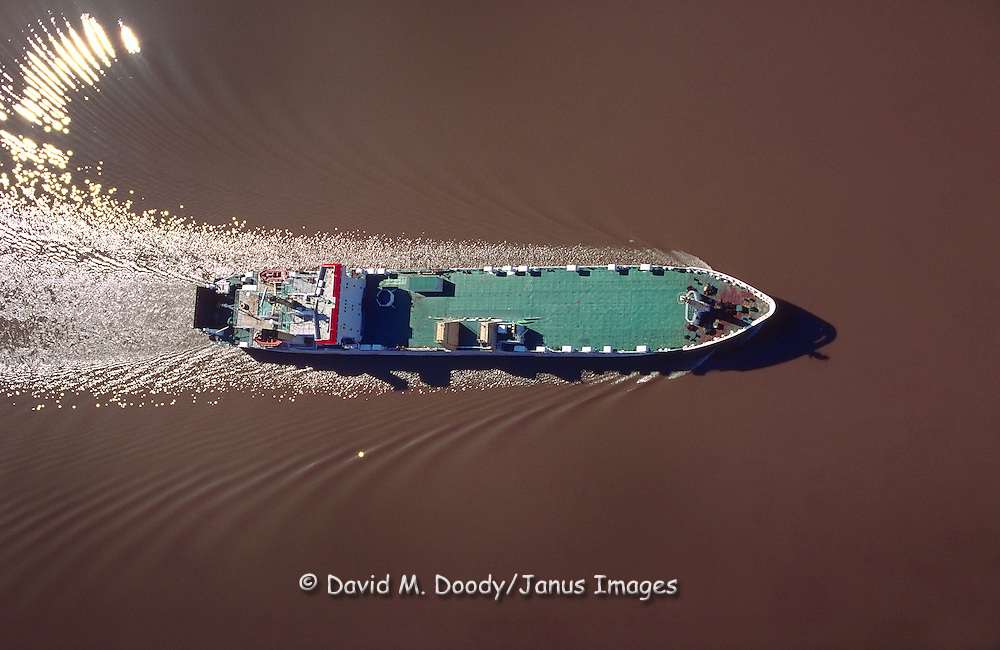 Aerial view of a Freighter on the James River, Virginia