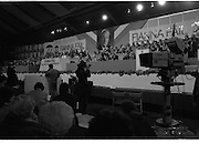 Fianna Fáil Ard Fheis.  (R97)..1989..25.02.1989..02.25.1989..25th February 1989..The Fianna Fáil Ard Fheis was held today at the RDS Main Hall, Ballsbridge, Dublin. An Taoiseach, Charles Haughey TD,gave the keynote speech of the event...An overall view of the Fianna Fáil party leadership on the stage of the RDS in Dublin.