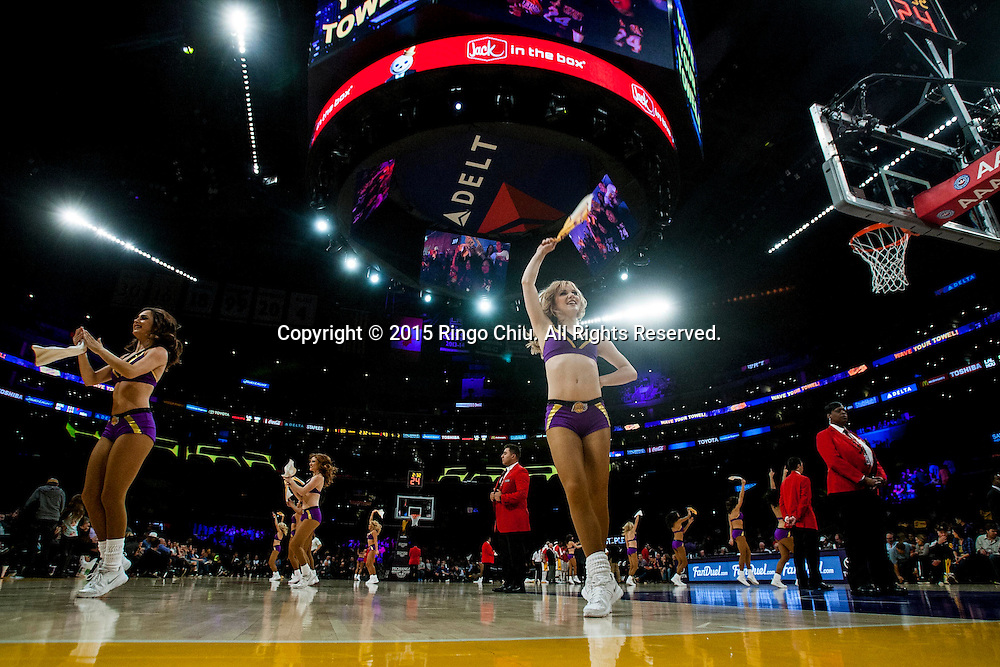 Los Angeles Lakers cheerleaders perform during a NBA game against Houston Rockets at Staples Center in Los Angeles, California on January 25, 2015 . Rockets defeated Lakers 99-87. (Photo by Ringo Chiu/PHOTOFORMULA.com)