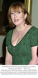 BARONESS SYMONS at a reception in London on 21st June 2001.<br />OPP 177