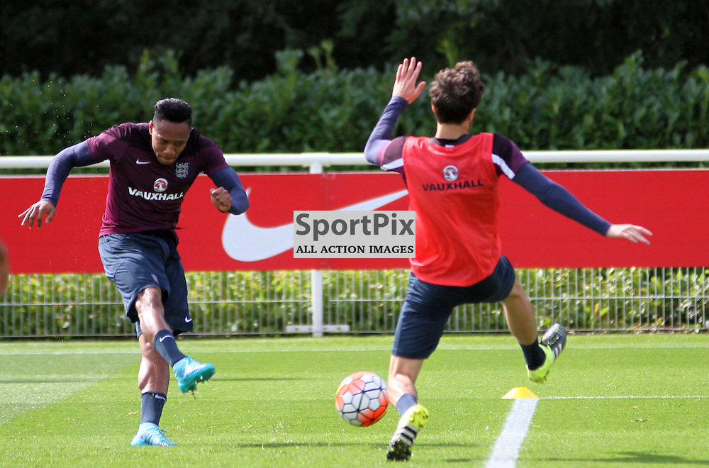 Nathaniel Clyne shoots at goal During England Training on Monday the 7th September 2015.
