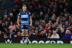 27th April 2019 , Principality Stadium , Cardiff, Wales ; Guinness pro 14's, Round 21, Cardiff Blues Vs Ospreys ; Gareth Anscombe of Cardiff Blues prepares to kick at goal<br /> <br /> Credit :  Craig Thomas/Replay Images