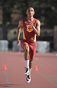 Nov 2, 2017; Los Angeles, CA, USA; Southern California Trojans sprinter Alexander Barnum runs during workout at Cromwell Field.