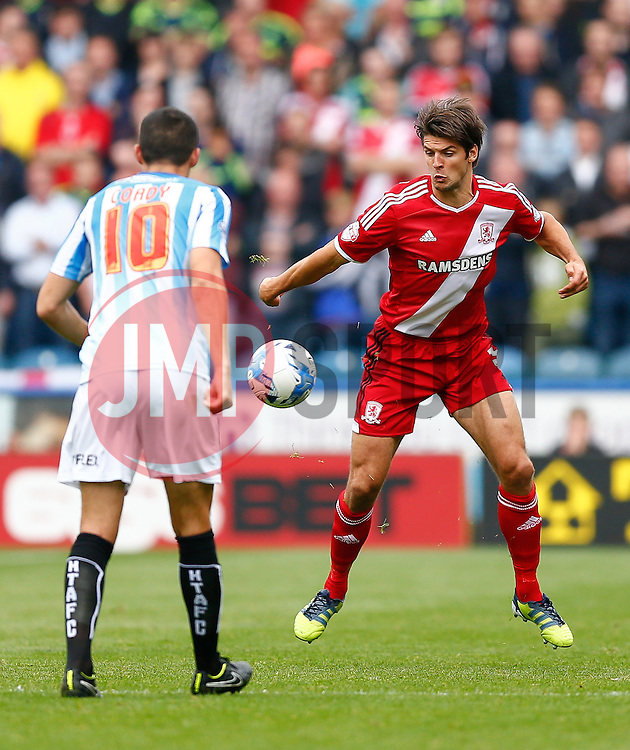 George Friend of Middlesbrough in action - Photo mandatory by-line: Rogan Thomson/JMP - 07966 386802 - 13/09/2014 - SPORT - FOOTBALL - Huddersfield, England - The John Smith's Stadium - Huddersfield town v Middlesbrough - Sky Bet Championship.