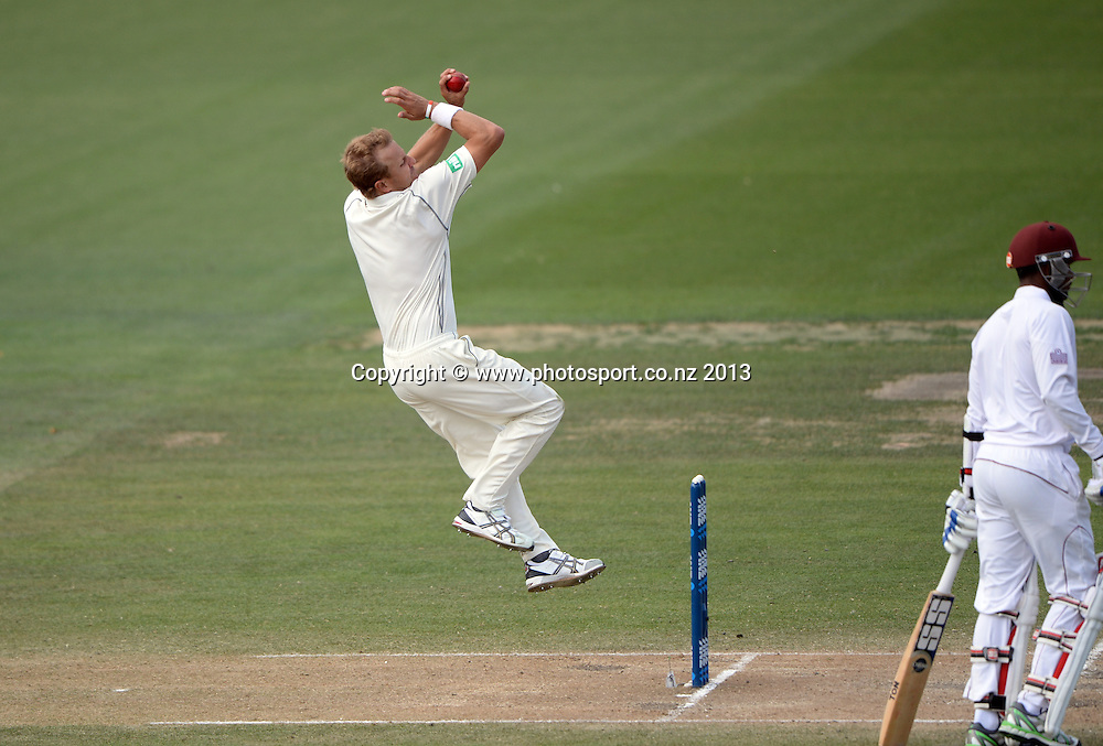 Neil Wagner bowling on Day 3 of the 3rd cricket test match of the ANZ Test Series. New Zealand Black Caps v West Indies at Seddon Park in Hamilton. Saturday 21 December 2013. Photo: Andrew Cornaga / www.Photosport.co.nz