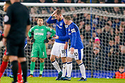 Everton midfielder Gylfi Sigurdsson  (18) scores a goal and celebrates with Everton striker Wayne Rooney (10)  to make the score 2-1 during the Premier League match between Everton and Swansea City at Goodison Park, Liverpool, England on 18 December 2017. Photo by Simon Davies.