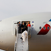 QUEENS, N.Y. - SEPTEMBER 25, 2015: Pope Francis stumbles as he walks up the stairs at John F. Kennedy International Airport after a visit to New York. CREDIT: Sam Hodgson for The New York Times