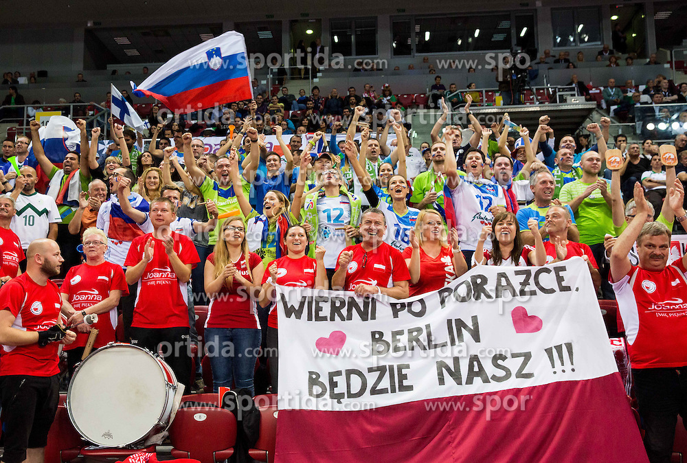 Supporters of Slovenia and Poland during volleyball match between National teams of Slovenia and Italy in 1st Semifinal of 2015 CEV Volleyball European Championship - Men, on October 17, 2015 in Arena Armeec, Sofia, Bulgaria. Photo by Vid Ponikvar / Sportida