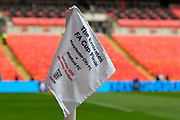 The Emirates FA Cup Final corner flag before the The FA Cup Final match between Manchester City and Watford at Wembley Stadium, London, England on 18 May 2019.