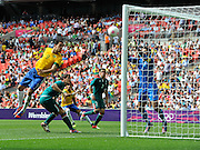 Wembley, Greater London, GREAT BRITAIN..Description:  Brazilian Forward, LEANDRO DAMIAO attempts a header on goal. 2012 Olympic Football Men's Final: Brazil vs Mexico [Gold medal Game] at Wembley Stadium, London..16:06:15  Saturday   11/08/2012  [Mandatory Credit: Peter Spurrier/Intersport Images]  Wembley, Great Britain,