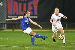 04 November 2016:  Katie Wells(5) & Sara Stankoskey(26) during an NCAA Missouri Valley Conference (MVC) Championship series women's semi-final soccer game between the Indiana State Sycamores and the Illinois State Redbirds on Adelaide Street Field in Normal IL